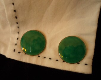 "Vintage Blue Green Enamel Cuff Links - Round Disk  3/4""-20 cm Gold-Tone  PAT. #503655 applied for in 1893 Father's Day Gift - Groomsman Gift"