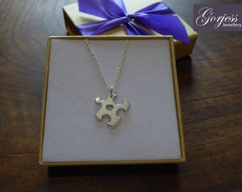 Little Handmade Puzzle Charm, Silver Necklace