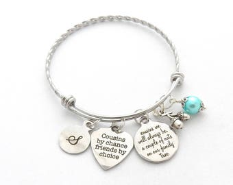 Cousin Gift, Gifts for Cousin, Cousin Bracelet, Cousin Jewelry, Friendship, Best Friend Gifts, Friends by choice, Big Cousin Family Tree