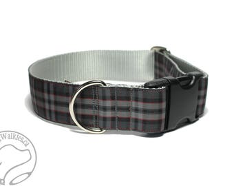 "Silver Pride of Scotland Tartan Dog Collar / 1.5"" Wide(38mm) / Gray Plaid / Choice of style and size - Martingale Dog Collar or Side Release"