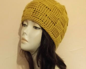 Sale - Crocheted Basketweave Beanie Hat, Basketweave Beanie Hat, Crochet Skullcap Beanie, Beanie Hat, Textured Hat. FREE UK DELIVERY
