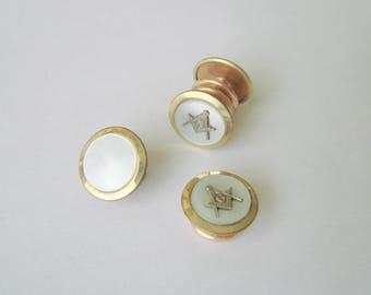 Art Deco Jiffy Park Bros. & Rogers Freemasons Masonic Snap Mother of Pearl Cufflinks / Mens Vintage Jewelry