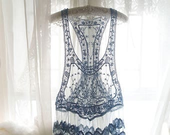 Bohemian Boho Gypsy Hand Dyed French Blue Lace Flower Floral Cape Tank Top Cami Camisole Racer back Summer Beach Honeymoon Hippie Shabby