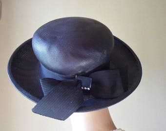 Black Straw Dress Hat with Rhinestone Buckle, Cecile Original from New York, Large Black Sunhat