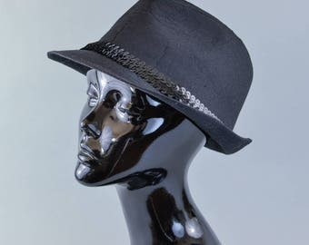 Vintage Women's Black Sequin Fedora Trilby Hat 70's Detective Medium 57cm 22""