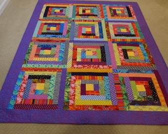Modern Log Cabin Quilt with Dots