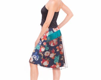 Blue Floral Tango Skirt, Tango Skirt in Blue and Red, Turquoise Print Tango Clothes, Custom Size Tango Clothes, Tango Skirt with a Tail