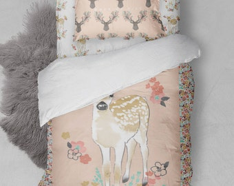 Twin Bed Duvet Cover Sheets Girls Fawn Deer Pink Flowers Antlers Blanket Boho Bedding Comforter