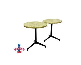 Vintage Stone End Tables Pair, Mid Century Modern Furniture Round Pebble Side Tables