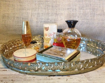 Vintage Oval Gold Filigree Mirror Dressser Perfume Tray With Perfumes & Compact *Vanity Table*