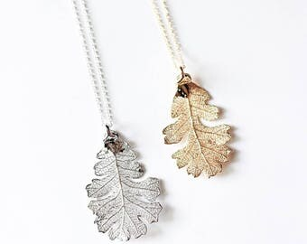 Oak Leaf Necklace | silver leaf necklace, gold leaf necklace, leaf necklace, oak leaf, nature jewelry, oak tree necklace, bridesmaid jewelry
