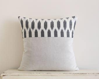 Limited edition ikat pillow cushion cover in grey and cream
