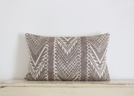 "Block printed chevron pillow cushion cover 12"" x 20"" in latte"