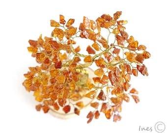 Baltic Amber Tree. Bonsai Made Of Baltic Amber Beads.
