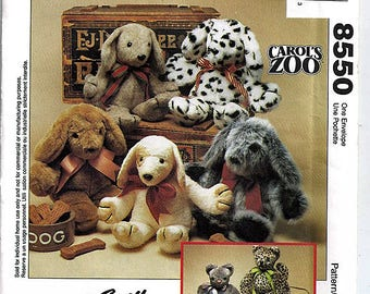 Carol's Zoo Cat and Puppy /  McCall's Crafts Uncut Sewing Pattern 8550