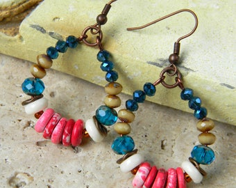 Born Free - Colorful Beaded Boho Earrings - 4th of July Colors Rustic Copper