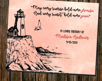 Lighthouse Nautical Beach Theme ~In Memory Of Loved One ~Miscarriage Stillbirth Infant Loss ~Remembrance 8x10 Printable (digital file)
