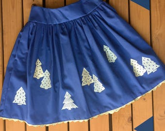 Christmas Tree Skirt. Festive clothing. Gold & Navy Glitter Ladies Holiday xmas party outfit. (Better than a jumper!) Made to order!