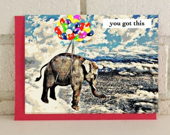 Elephant Balloons Encouragement Card Congratulations