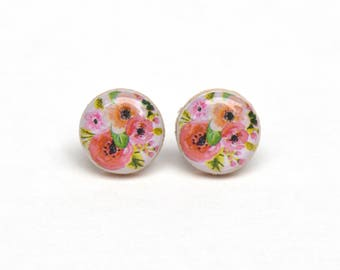 Summer floral studs post earrings summer outdoors floral earrings wood earrings jewelry earrings wood earrings spring jewelry for her