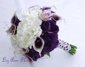 SILK WEDDING BOUQUET Real Touch Purple Picasso Calla Lilies , Real Touch Purple Roses, Silk Peonies,Vintage Inspired, Wedding Bouquet