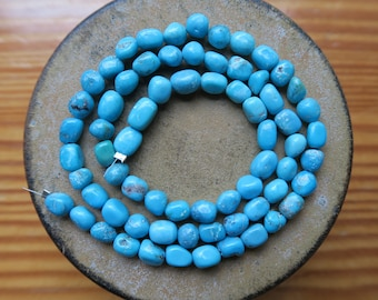 "Beautiful Robin's EGG BLUE Mexican Nacozari Turquoise Nugget Beads, 4mm - 5mm, 16"" Strand"