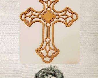 Pretty Cross Wood Cut Out - Laser Cut