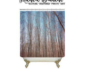 Woodsy Photo Shower Curtain, Gray Tree Branches, Blue Sky Abstract Nature Bathroom Decor Blue Sky Gray Trees Nature Photo Shower Curtain