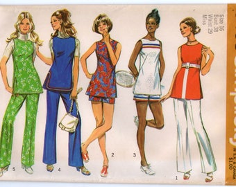 "1970's Simplicity Tunic and Wide Leg Pants and Shorts Pattern - Bust 38"" - No. 9408"