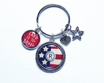 Red White Blue Keychain, Monogram keychain, USA, Land of the Brave, Personalized Gift, Stocking stuffer, USA Key ring, USA Keychain (7868)