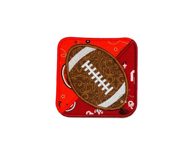 Football house divided iron on applique