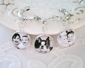 Photo Charms on Kilt Pin Gift for Groom Lapel Charm Photo Gift for Grandmom Memory Keepsake Sympathy Gift Pet Photo Charm Pet Memory Jewelry