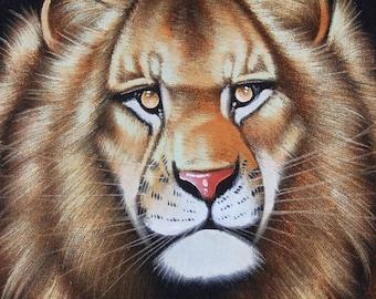 Ortiz Black Velvet Painting Lion Big Cat Artist Signed Framed Vintage