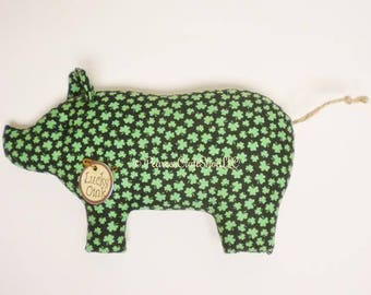 Primitive St. Patrick's Day Pig - Made To Order, Shamrock Fabric Pigs, St. Patrick's Day Gifts
