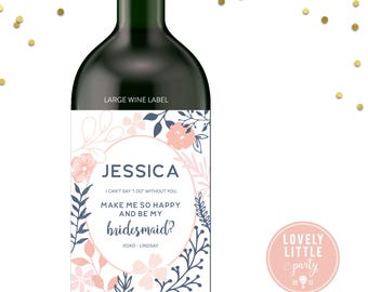 Pretty Florals Will you be my bridesmaid wine labels, bridesmaid wine labels, modern bridesmaid labels, bridesmaid gift - style 1010