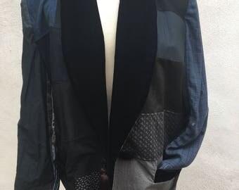Vintage boho jacket by Grau dark black blues patchwork silk Japanese fabrics sz S M