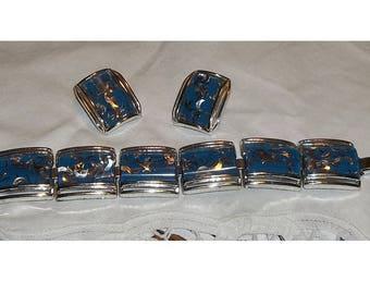 Vintage Lucite Confetti Bracelet and Earrings, Demi Parure