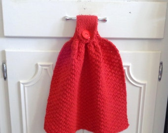 Bright Red Hanging Dishtowels, Hand Towels, Decorative Kitchen Towel, 100%  Cotton,