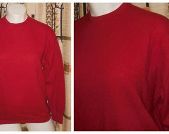 Vintage Wool Sweater 1950s 60s Red Angora Wool Blend Long Sleeve Pullover Jumper Rockabilly Pulli Deltex Brand L XL chest to 43 inches
