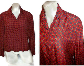 Vintage Silk Blouse 1960s Red Silk Patterned Blouse High Quality Secretary Boho M chest to 39 inches
