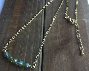 Gold Chain Necklace with Aqua Blue & Green Faceted Glass Beads