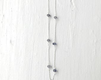 Lolite Goldfilled Sterling Silver Necklace/Gemstone Birthstone Necklace/Bridesmaid Necklace/Crystal Necklace/Delicate Gold Layer Necklace