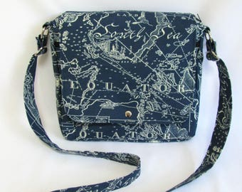 Large messenger bag- Navy blue and white South Seas canvas