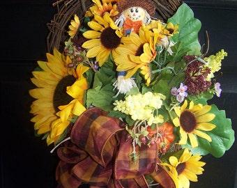 Autumn Fall Sunflower garden filled grapevine basket