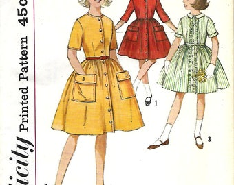 1960's Simplicity 4629 Girls One-Piece Dress With Detachable Collar Pattern For Chubbies, Size 10 1/2