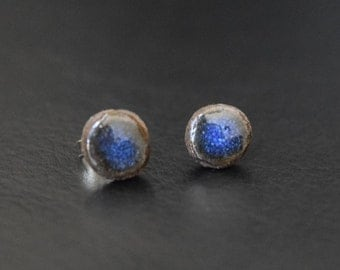 Blue Ceramic Stud Earrings with Sterling Silver Posts