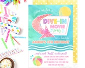 Dive In Movie Invites / Dive In Movie Party / Summer Party Invites / Pool Party Invitations