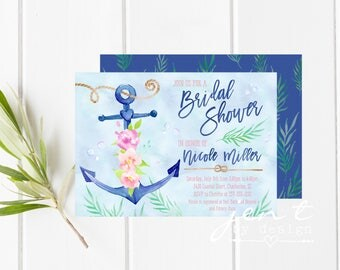 Nautical Bridal Shower Invitations | Anchor Bridal Shower Invitations | Nautical Bridal Shower | Bridal Shower Invite