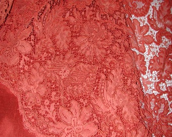 No. 300 Carnelian Red French (Alencon?) Reembroidered Lace with Matching Fabric Double Scalloped