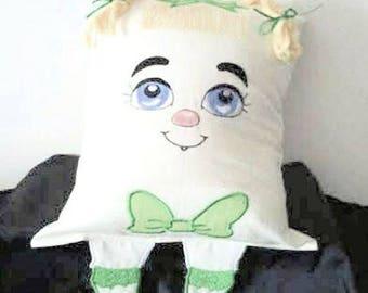 Pillow, Girl Face Pillow, Embroidered Pillow, Home Decor,